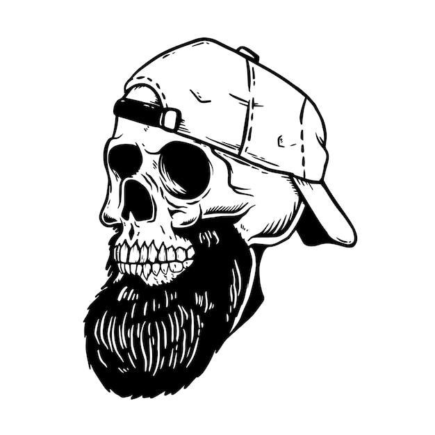 Bearded skull in baseball cap.  element for emblem,poster, card, t shirt.  illustration Premium Vector