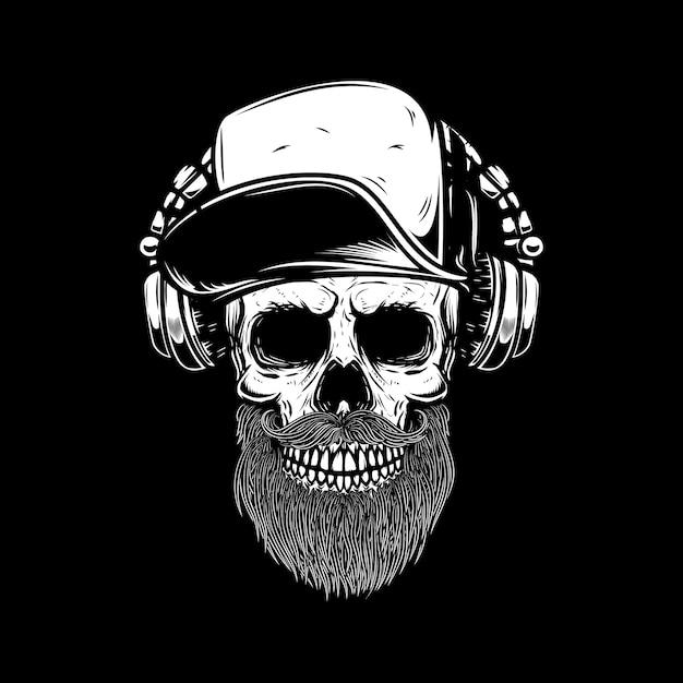ヘッドフォンでひげを生やした頭蓋骨。ポスター、カード、エンブレム、サインバナーの要素。画像 Premiumベクター