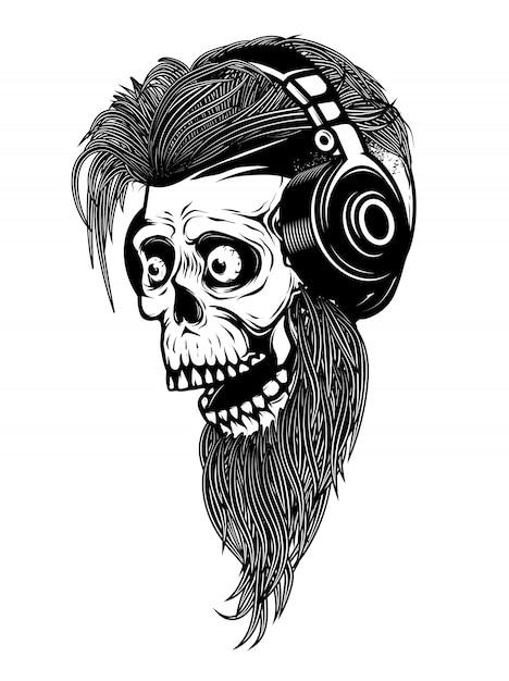 Bearded zombie head with headphones.  elements for logo, label, emblem, sign.  illustration Premium Vector