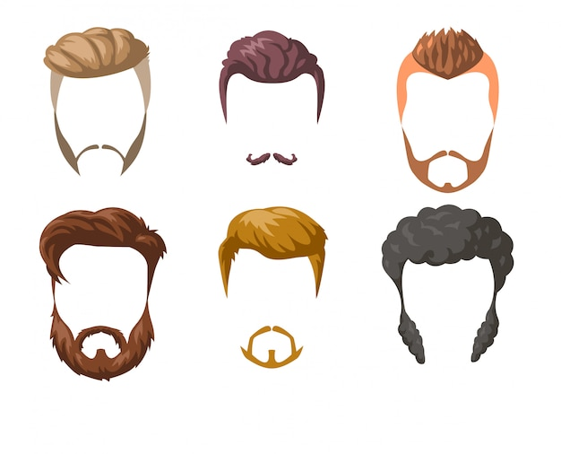 Beards, mustaches and hairstyles set. Premium Vector