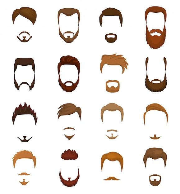 ひげベクトル理髪店で男性の散髪と流行に敏感な有刺鉄線の口ひげを生やした男のひげを生やした男のportraiteの顔の白い背景で隔離の理髪店の髪型のイラストセット Premiumベクター