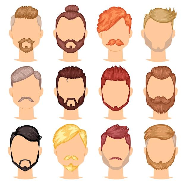 ひげは、理髪店で男性の散髪と流行に敏感な有刺鉄線の口ひげを生やした男のひげを生やした男性のportraite顔白い背景で隔離の理髪店の男らしい髪型のイラストセット Premiumベクター