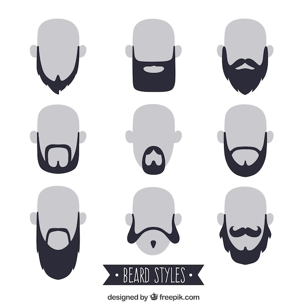 Beardstyle collection Free Vector