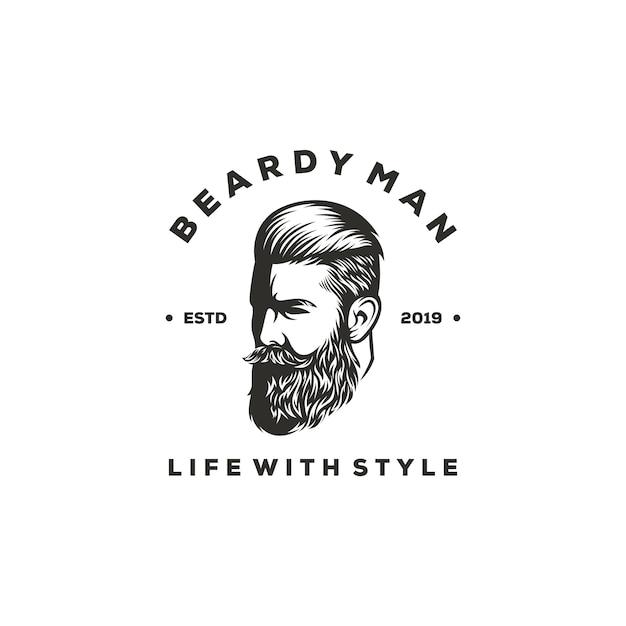 Beardy man logo design Premium Vector