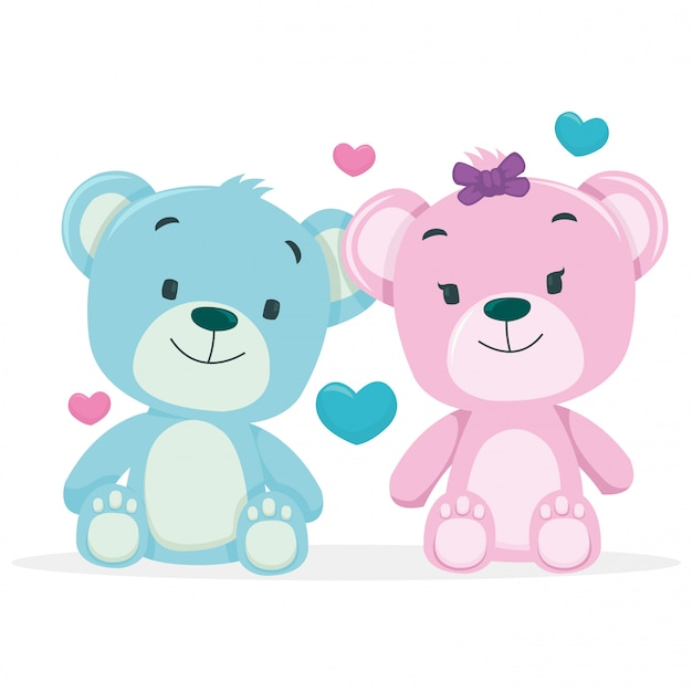 A bears couple isolated on white background Premium Vector