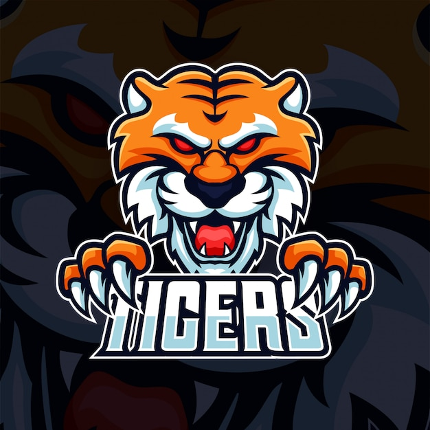 Beast tiger head with claw mascot esport gaming logo Premium Vector
