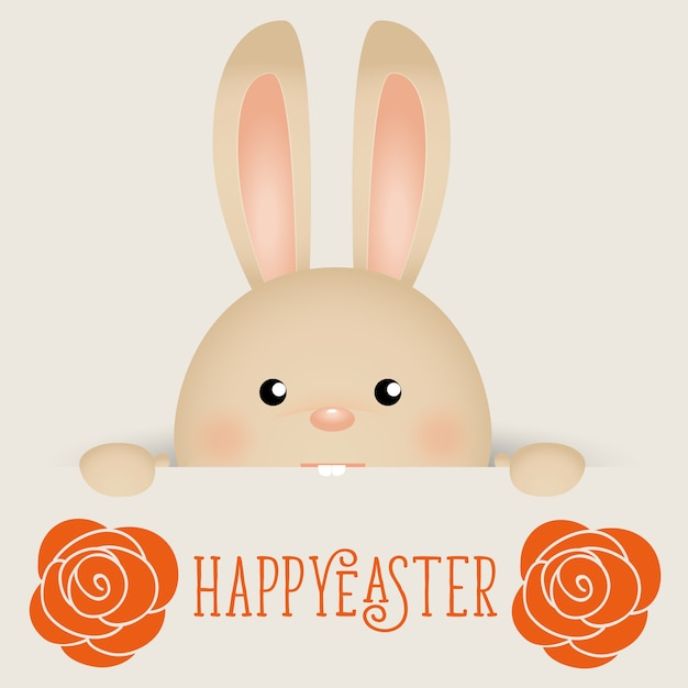 Beatiful easter bunny with flowers Free Vector
