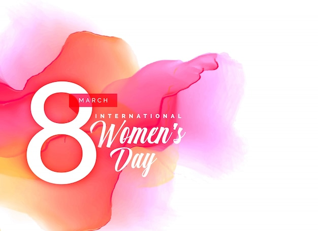 Beauful women's day background with vibrant watercolor effect Free Vector
