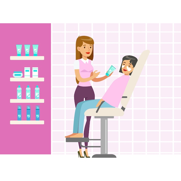 Beautician applying woman white mask on face in salon. colorful cartoon character  illustration Premium Vector