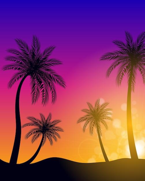 Beautifil пальмовых листьев силуэт фон Premium векторы