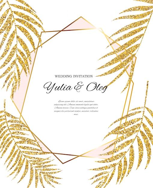 ヤシの木の葉シルエットとbeautifil結婚式の招待状 Premiumベクター