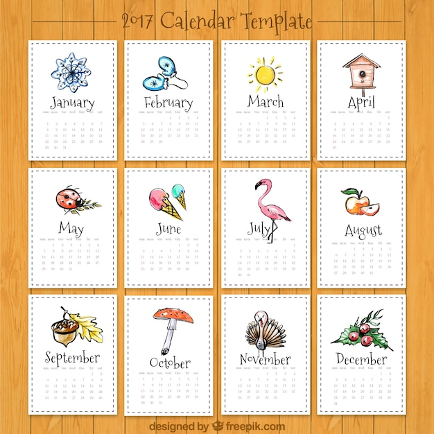 Beautiful Calendar Design : Beautiful calendar with drawings vector free download