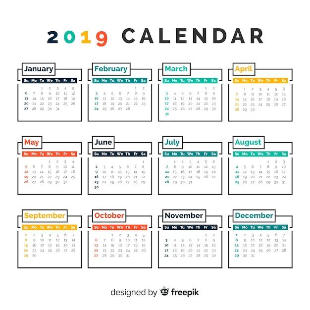 Beautiful 2019 Calendar Template Vector Free Download