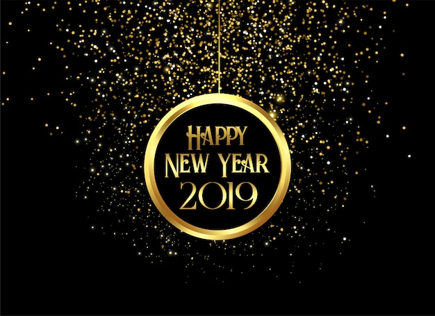 Beautiful 2019 happy new year sparkles Free Vector