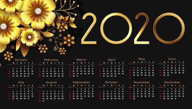 Beautiful 2020 golden flower happy new year calendar design Free Vector