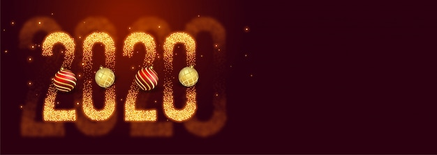 Beautiful 2020 happy new year made with sparkles banner Free Vector