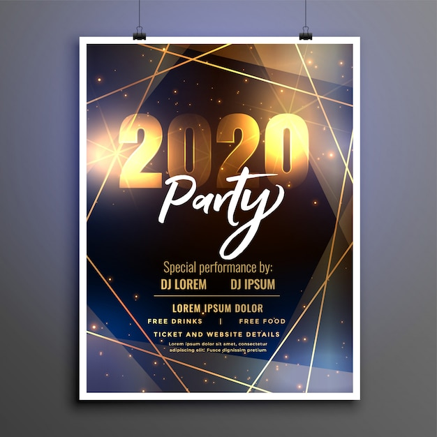 Beautiful 2020 happy new year party poster flyer template Free Vector