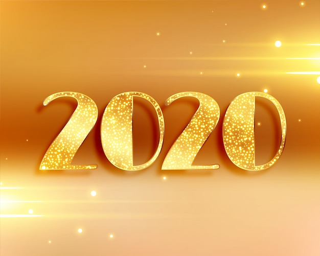 Beautiful 2020 new year background in golden colors Free Vector