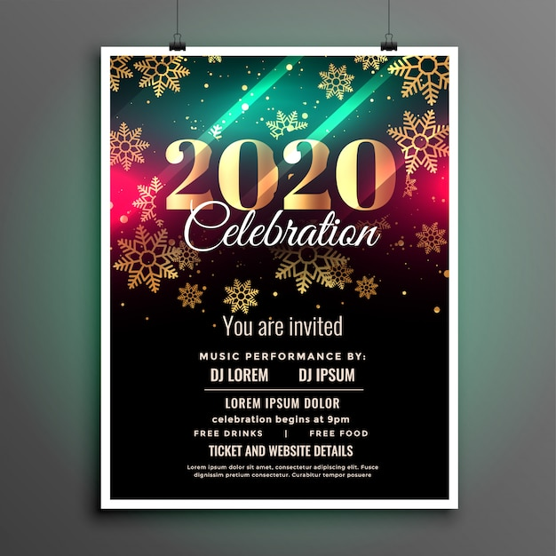 Beautiful 2020 new year celebration flyer template Free Vector