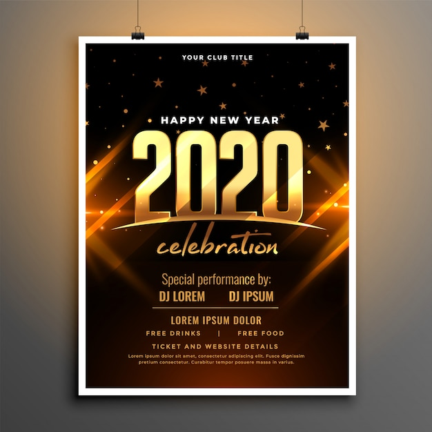 Beautiful 2020 new year celebration poster template design Free Vector