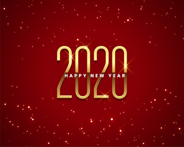 Beautiful 2020 new year golden and red background Free Vector