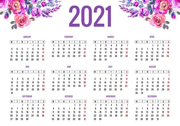 화려한 꽃 디자인을위한 아름다운 2021 달력 무료 벡터