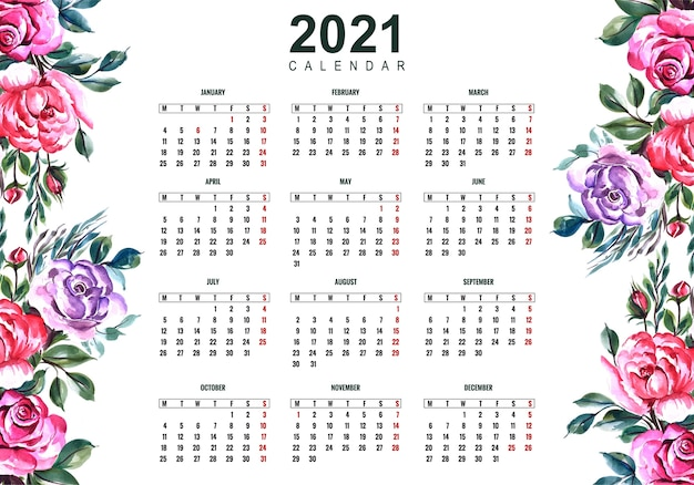 Free Vector | Beautiful 2021 calendar with colorful floral ...