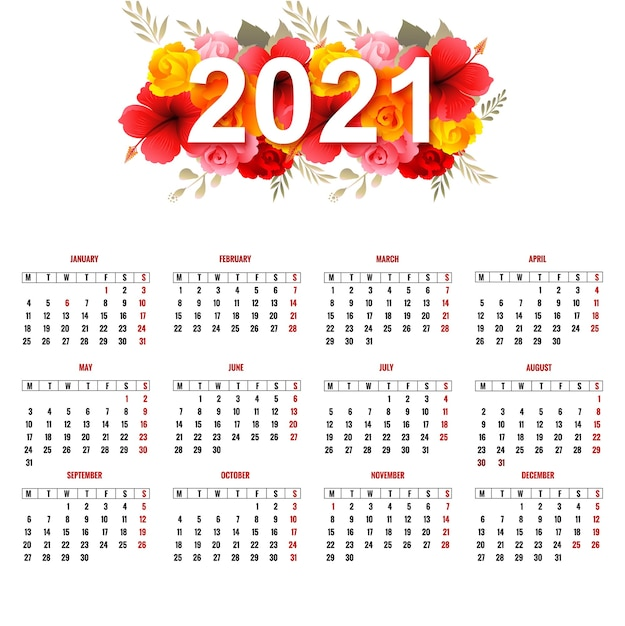 Beautiful 2021 calendar with colorful flowers Free Vector