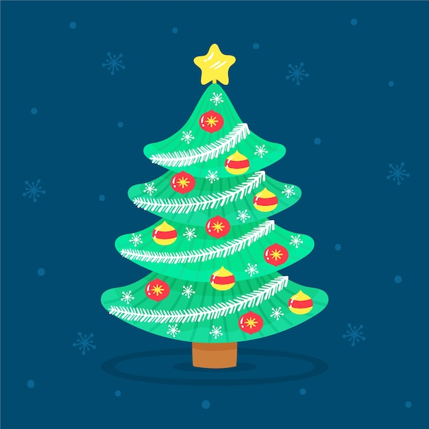 Beautiful 2d christmas tree Free Vector
