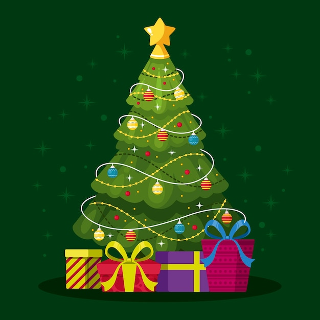 Beautiful 2d christmas tree Free Vector