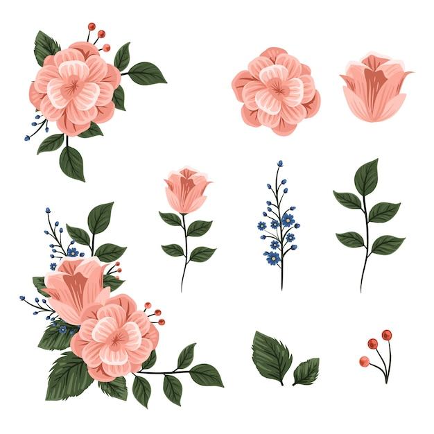 아름 다운 2d 꽃 꽃다발 프리미엄 벡터