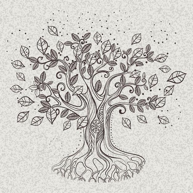 Красивые абстрактные листья дерева жизни Бесплатные векторы