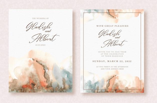 Красивая абстрактная акварель искусства всплеска на шаблоне свадебной открытки Premium векторы