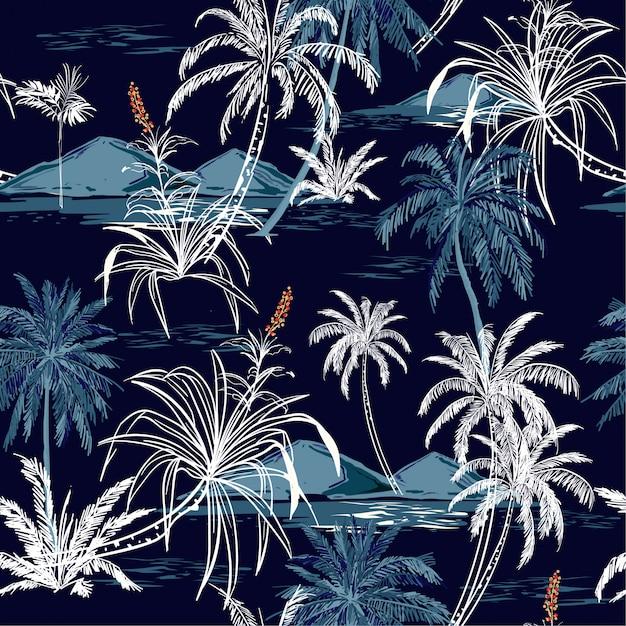 Beautiful aloha monotone blue seamless island pattern vector. Premium Vector