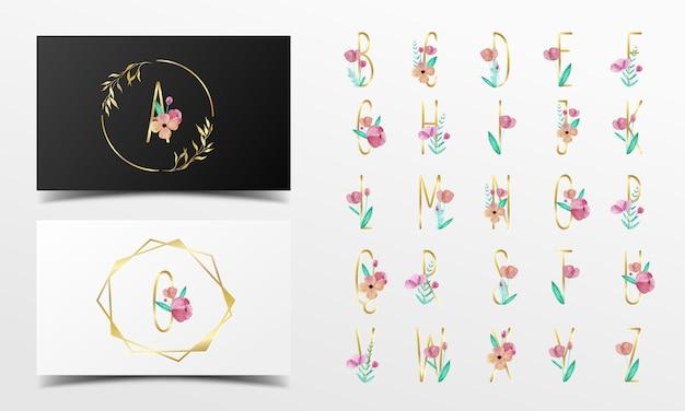 꽃 수채화 스타일로 장식 된 아름다운 알파벳 모음 무료 벡터