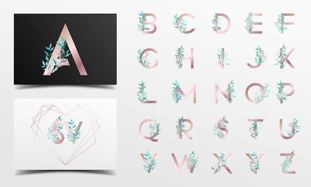 Beautiful alphabet collection with floral watercolor decoration Free Vector