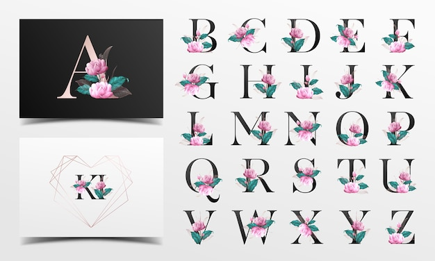 Beautiful alphabet collection with floralwatercolor decoration Premium Vector