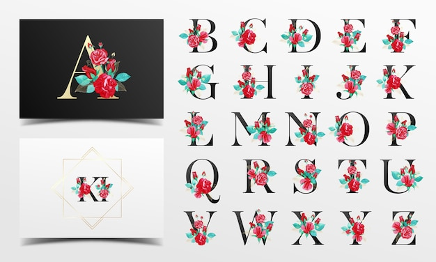 Beautiful alphabet collection with red watercolor floral decoration Premium Vector