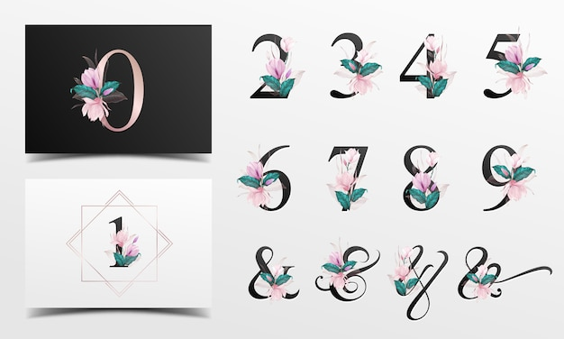 Beautiful alphabet number collection with pink watercolor floral decoration Premium Vector
