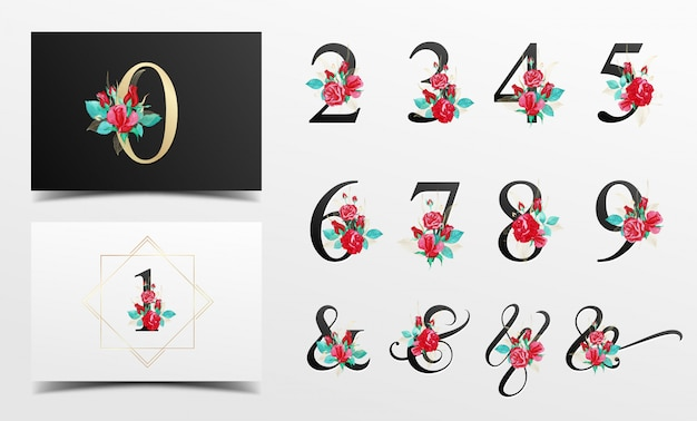 Beautiful alphabet number collection with red watercolor floral decoration Premium Vector