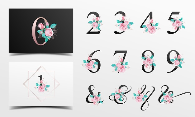 Beautiful alphabet nunber collection with watercolor floral decoration Premium Vector