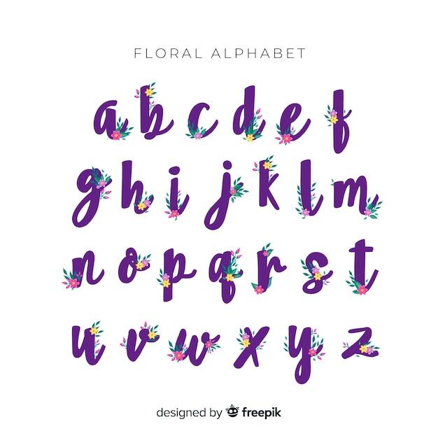 花と美しいアルファベット 無料ベクター