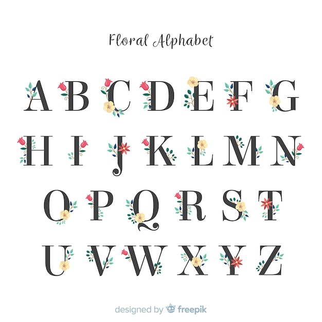 Beautiful alphabet with flowers Vector | Free Download