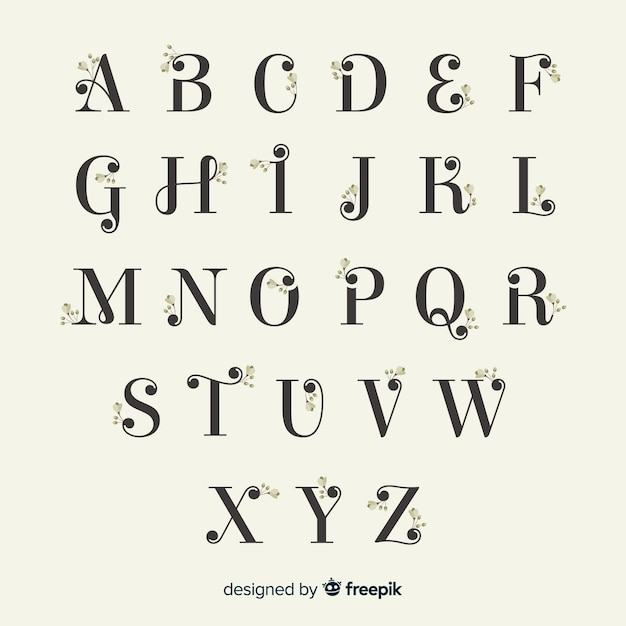 Beautiful alphabet with flowers Free Vector