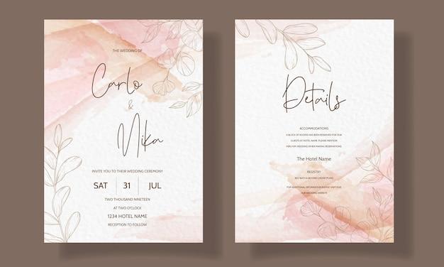 美しくエレガントな花の結婚式の招待カードのテンプレート 無料ベクター