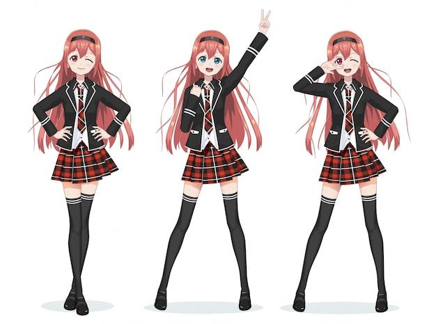 Beautiful anime manga schoolgirl in skirt Premium Vector