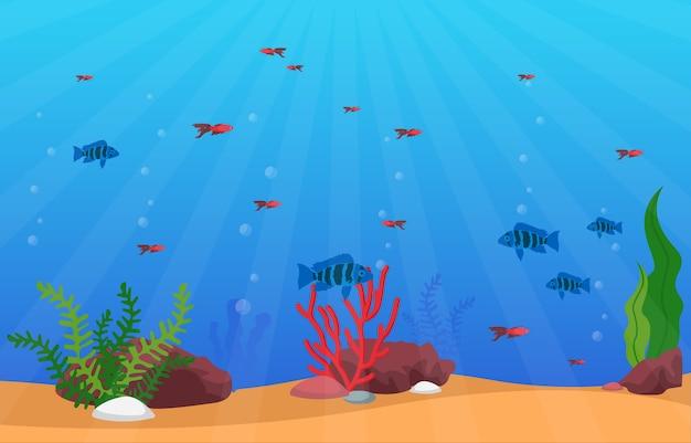 美しい水族館の魚カラフルなサンゴ礁の水生植物のイラスト Premiumベクター