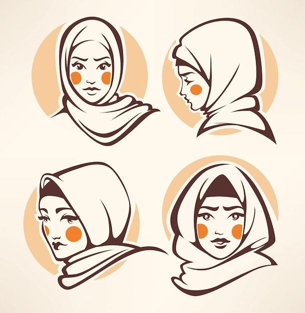 Beautiful arabian girls collection Premium Vector