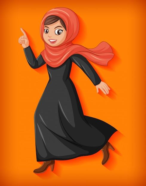 Personaggio dei cartoni animati di bella signora araba Vettore gratuito