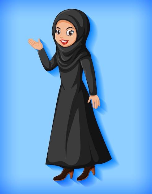 美しいアラビア語の女性の漫画のキャラクター 無料ベクター